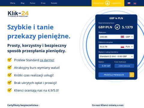 Klik-24.com wysyłka pieniędzy z UK do PL